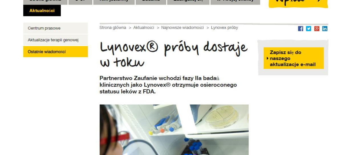 Lynovex® trial gets underway – próby w toku