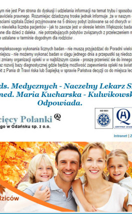 Dyrektor ds. Medycznych – Naczelny Lekarz Szpitala lek. med. Maria Kucharska – Kulwikowska odpowiada.
